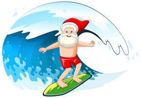 le père noël surfant sur la vague de l'océan pour l'été noël