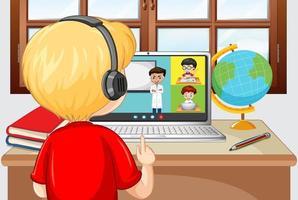 Vue arrière d'un garçon communiquer par vidéoconférence avec des amis à la maison vecteur