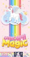bannière de licorne mignonne sur la couleur de fond pastel