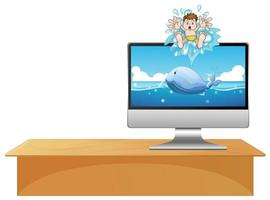ordinateur avec baleine sur le bureau