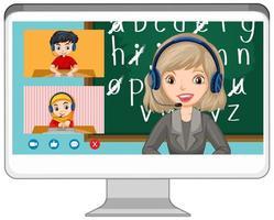 Écran en ligne de chat vidéo étudiant sur écran d'ordinateur sur fond blanc vecteur