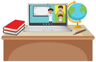 Écran en ligne de chat vidéo étudiant sur ordinateur portable sur fond blanc vecteur