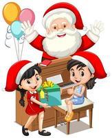 Père Noël avec deux fille jouant du piano sur fond blanc