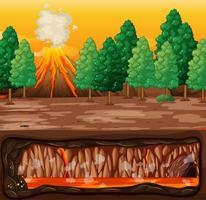 éruption du volcan avec du magma sous terre