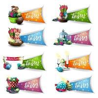 collection de symboles colorés de voeux de pâques vecteur