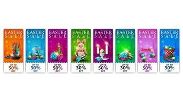collection de bannières de réduction de Pâques colorées