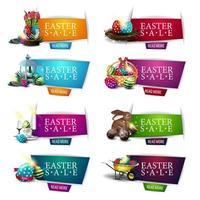 collection de bannières de réduction avec des symboles de pâques