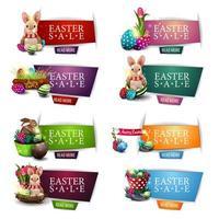 collection de bannières de réduction de Pâques colorées vecteur