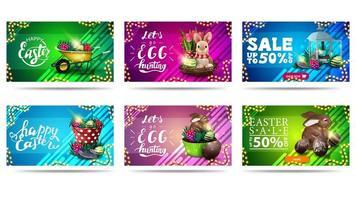cartes postales colorées horizontales de pâques et bannières de réduction