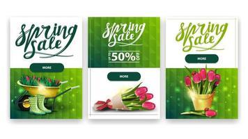collection de bannières de réduction avec des icônes de printemps vecteur
