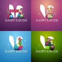 collection de cartes postales carrées colorées de Pâques