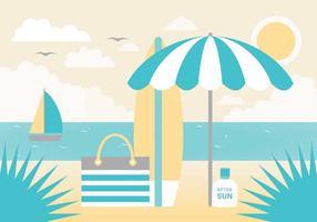 Carte de voeux de vecteur de paysage d'été gratuit