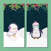 bannière mignonne de Noël sertie de personnages vecteur
