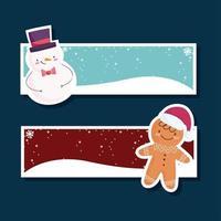 joyeux noël bannière sertie de bonhomme de neige et pain d'épice vecteur