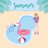 vacances d'été avec une fille au bord de la piscine vecteur