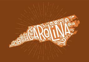 Lettrage d'état de la Caroline du Nord vecteur