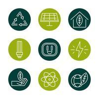jeu d'icônes d'énergie écologique durable, renouvelable et verte