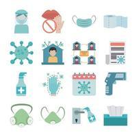 jeu d'icônes plat de prévention de la pandémie de coronavirus