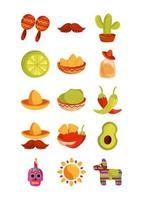 Cinco de mayo, jeu d'icônes de décoration mexicaine