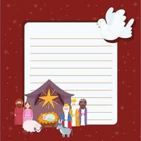 lettre de noël et de la nativité avec la famille sacrée et les mages vecteur
