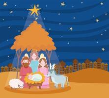 joyeux noël et bannière de la nativité avec la famille sacrée vecteur