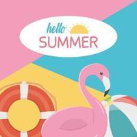 bonjour les vacances d'été et la composition de la plage