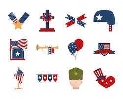 Memorial Day, jeu d'icônes de célébration nationale américaine