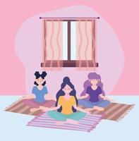 filles méditant, activité d'auto-isolement en quarantaine vecteur