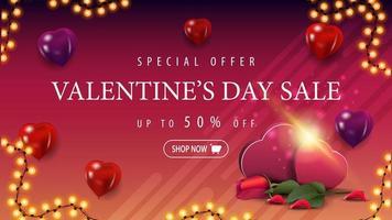 vente de la saint-valentin, jusqu'à 50 rabais, bannière vecteur