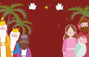 bannière de Noël et de la nativité avec la famille sacrée et les mages vecteur