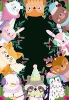 joyeux noël bannière avec des personnages mignons vecteur