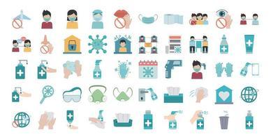 jeu d'icônes plat de prévention de la pandémie de coronavirus vecteur