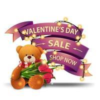bannière de réduction rose vente saint valentin vecteur