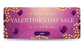 vente de la saint-valentin, jusqu'à 50 hors bannière vecteur