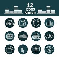 jeu d'icônes son et audio, musique et volume