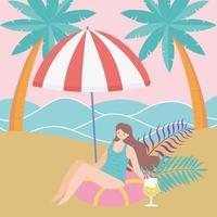 vacances d & # 39; été avec une fille à la plage