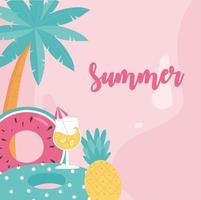 heure d & # 39; été et bannière de vacances tropicales vecteur
