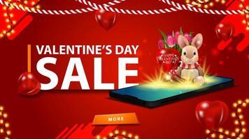 bannière de réduction rouge saint valentin pour site Web vecteur