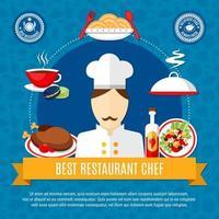 bannière de chef de restaurant vecteur