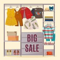 grande vente de vêtements et bannière de garde-robe