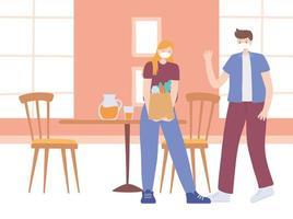 restaurant sur la prévention des coronavirus avec distanciation sociale vecteur