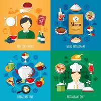 ensemble carré de concept de design de restaurant