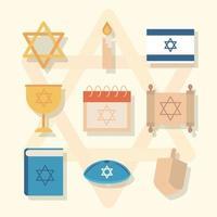 Hanoukka, jeu d'icônes plat cérémonie traditionnelle juive