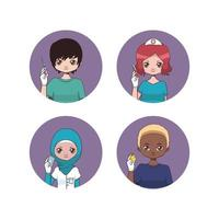 collection d & # 39; avatars d & # 39; infirmières masculines et féminines vecteur