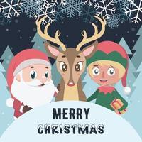 joyeux noël voeux avec le père noël, elfe et renne vecteur