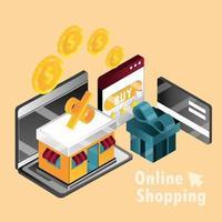 composition isométrique des achats en ligne et du commerce électronique vecteur
