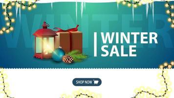 soldes d'hiver, bannière de réduction verte pour site Web