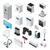 jeu d'icônes isométrique d'appareils ménagers vecteur