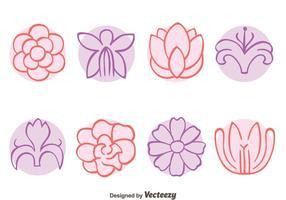 Croquis de vecteurs de collection de fleurs vecteur
