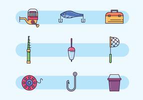 Équipement de pêche coloré vecteur